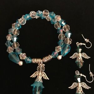 Angel bracelet with matching earrings